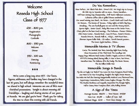 30th REUNION PROGRAM School reunion, High school and Programming - class reunion invitation template