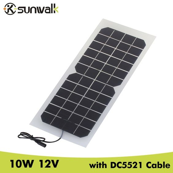 Sunwalk 2pcs Monocrystalline Silicon 10w 12v Solar Panel With Dc 5521 Cable Semi Flexible 830ma 12v Solar Pane Solar Panel Charger 12v Solar Panel Solar Panels