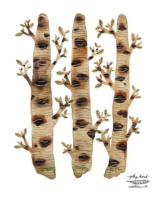 mossy birch trees woodland watercolor print by golly by GollyBard, $36.00