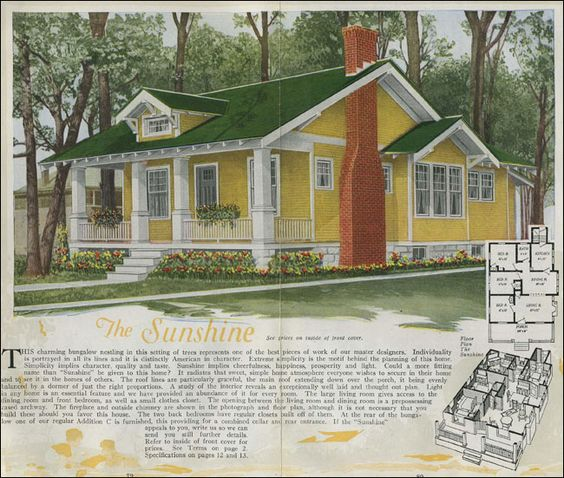 1920 Aladdin - Sunshine  Vintage House Plans from Antique Home Style.