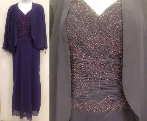 Gorgeous custom made, custom beaded mother of the bride or evening dress.  Is it eggplant?  Is it deep violet?  All we know is that its gorgeous.  Sleeveless dress with beautiful jacket. Never worn.  Elegant.  Appropriate.  Stunning.      Size:  22, $120