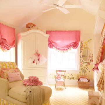 sweet pink & floral girls room from BHG~ Designed with a growing young girl in mind, this space includes both long-lasting furniture and color schemes as well as whimsical wall murals and pink fabric shades -- a combination that is as perfect for teddy bears as it is for prom dresses