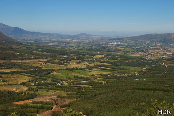 The view from the top of the old DuToit's Kloof pass, Paarl, South Africa.