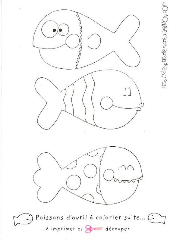 Poissons d 39 avril colorier et imprimer dessin coloriage for Modele bac a poisson