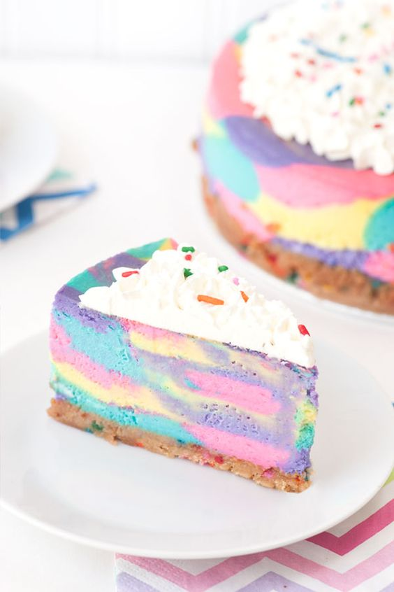 After a pretty emotional weekend, I thought I would kick off this week with something fun, bright and full of sprinkles. This Tie Dye Cheesecake definitely fits