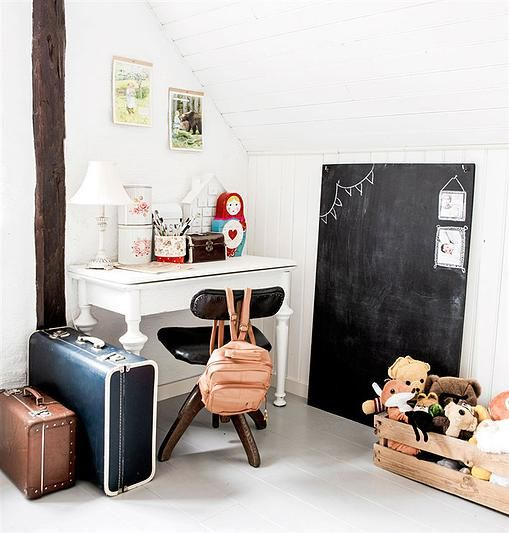 old suitcases from the flea market match perfect with the blackboard: