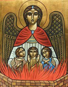 Three youth Coptic Icon by Dr Stephane Rene: