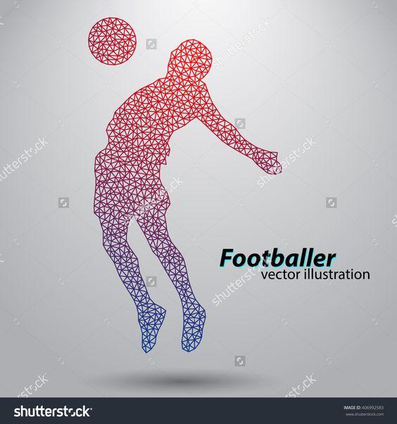 Silhouette Of A Football Player From Triangles Banco de ilustração vetorial 406992583 : Shutterstock