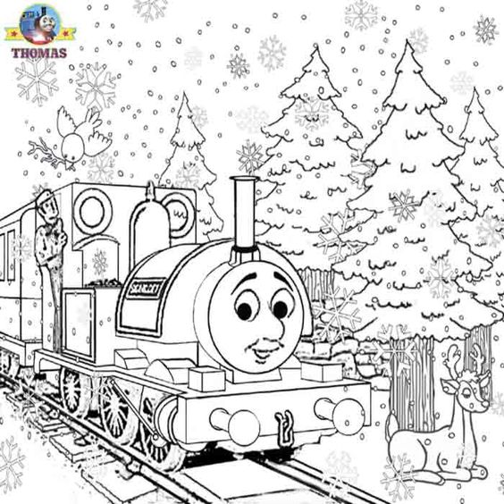 Christmas Coloring Pages Advanced : Detailed christmas coloring pages advanced thomas image