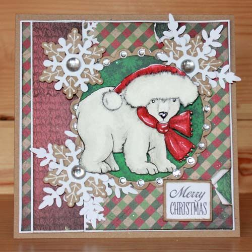 Winter Bears Foam Mounted Rubber stamp set designed by Sharon Bennett for Hobby Art Stamps. This Gorgeous Rubber stamp set contains 2 designs. 2 Foam Mounted Cute Winter Bears with an additional bonus Paw Stamp. Card by Sally Dodger: