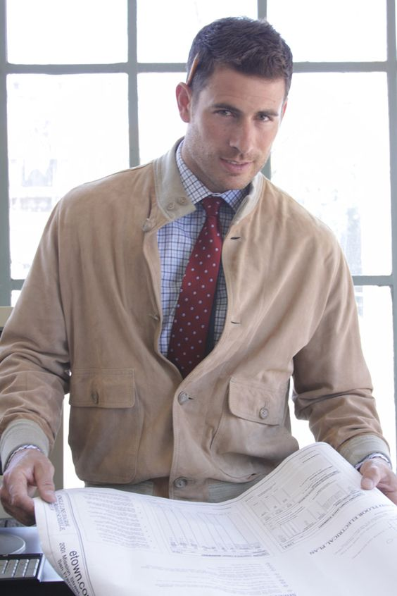 Lee Pappas for Golden Bear Sportswear (Fall/Winter 2012) #LeePappas #malemodel #model #StarsModels #StarsModelMgmt #GoldenBear #GoldenBearSportswear #jacket #tie