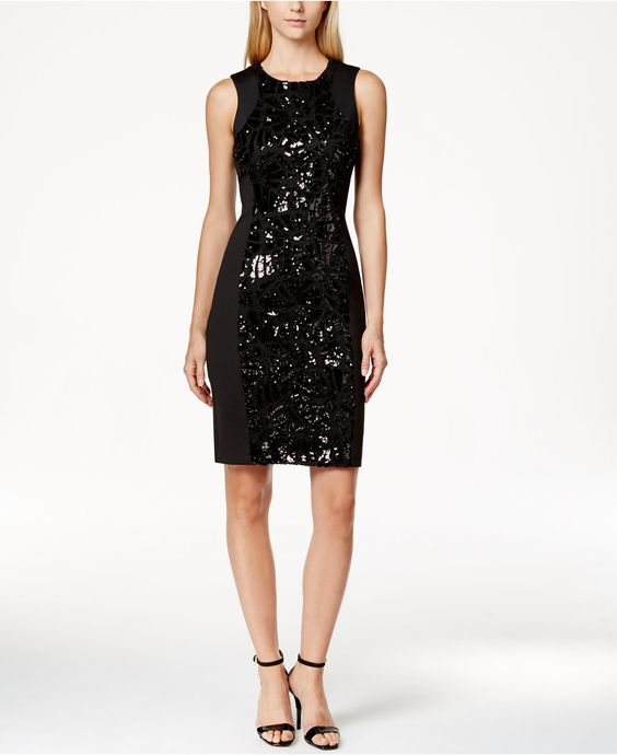 Calvin Klein Sequin Inset Scuba Sheath Dress - Womens Cocktail Dresses - Browse - Macy's