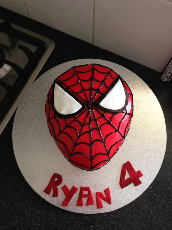Spider Man Themed Birthday Cake For My 4 Year Old Boy My