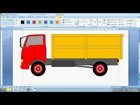 Cara Menggambar Alat Transportasi Mobil Truk Di Ms Word Youtube Mobil Truk Ms Office Word Microsoft Office Word