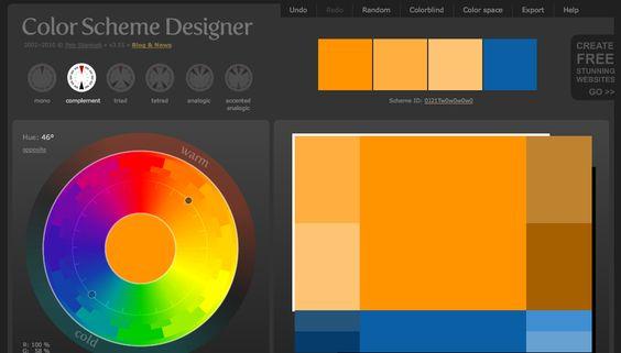 Muy buen sitio para sacar paletas de colores http://colorschemedesigner.com/  Puedes elegir colores y te los arma en una web ejemplo para ver como se vería.