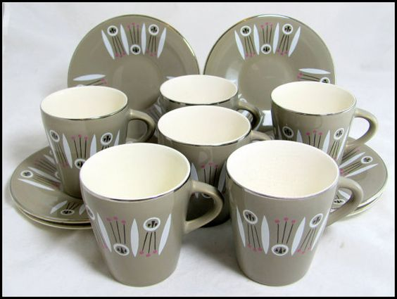 And a boxed set!! Midmod Atomic Coffee Set Boxed Set 6 1950s Palissy by keepsies, £70.00
