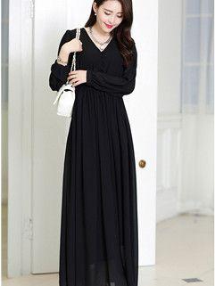 2014 New Arrival Fashion Maxi Dress Pure Color Long Sleeve V Neck Black Dress S-XL