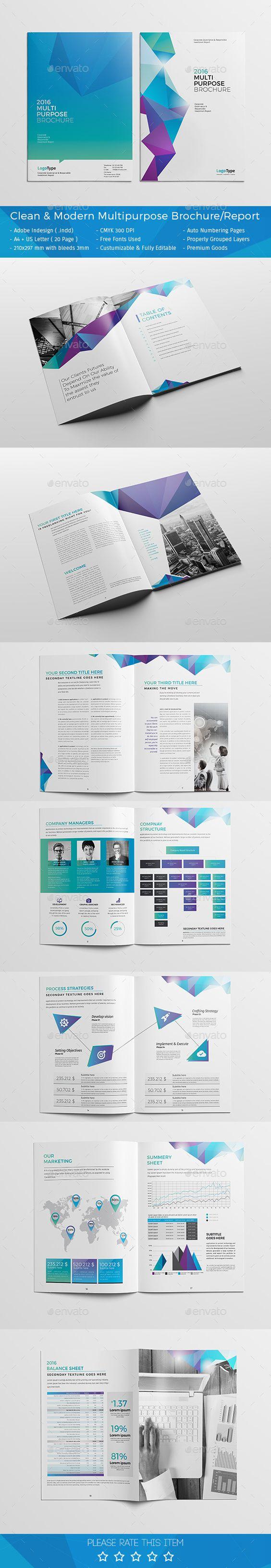 brochure design quotation - clean modern multipurpose brochure report design