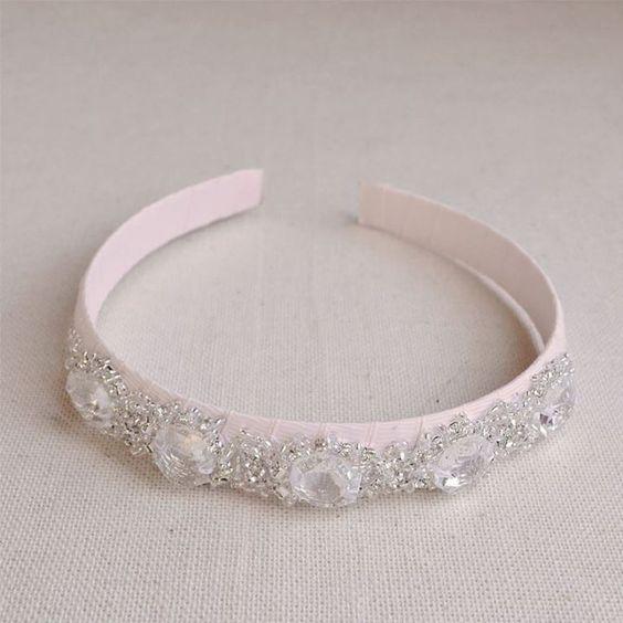 beaded crystal prism & rhinestone headpiece  black or blush