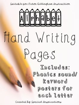 Alphabet Manuscript Hand Writing Worksheets w/ Orton-Gilli