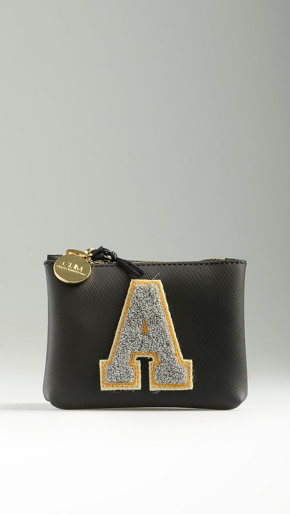 Black keycase/coin purse with front contrast letter A, top golden zip closure, dog clip, 5