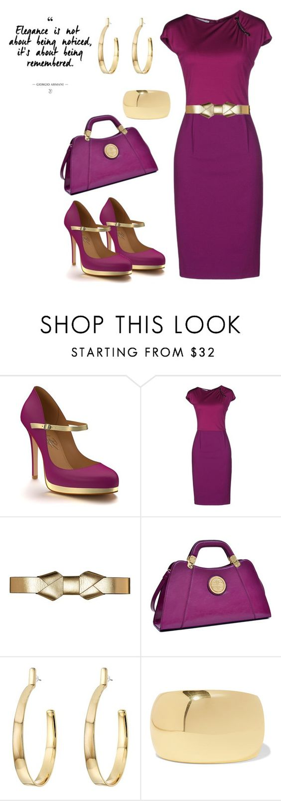 """""""Purple & Gold"""" by mstiffanyc ❤ liked on Polyvore featuring Shoes of Prey, Les Copains, Marni, Dasein, Vince Camuto and Kenneth Jay Lane"""