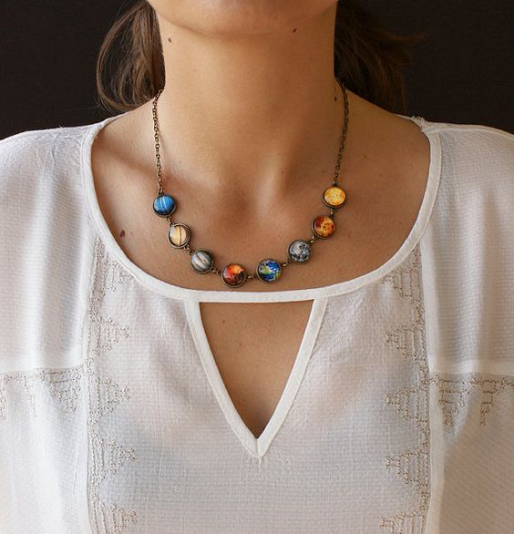 Moon Phase Necklace Moon Phases Solar System by DianaJewelryDesign