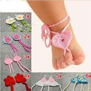 baby crochet descalzo sandalias-Compre baby ...