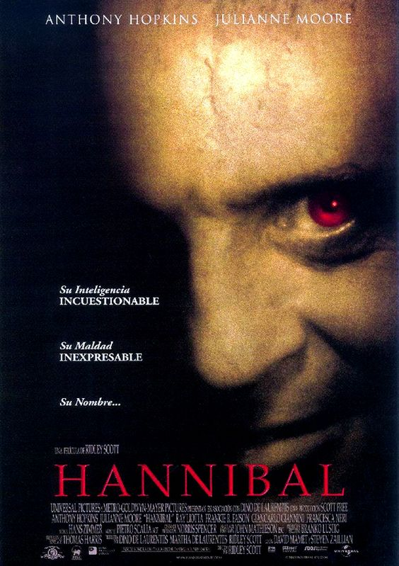 Hannibal - Ridley Scott. A sequel to The Silence of the Lambs, which had controversial changes made to the plot that caused Jodie Foster to refuse to reprise her role.  Well worth seeing, though, as always, the book has elements missing from the movie.  However--Anthony Hopkins!