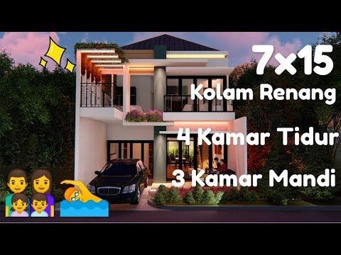 Desain Rumah Minimalis Modern 2 Lantai 7x15 Dengan Kolam Renang