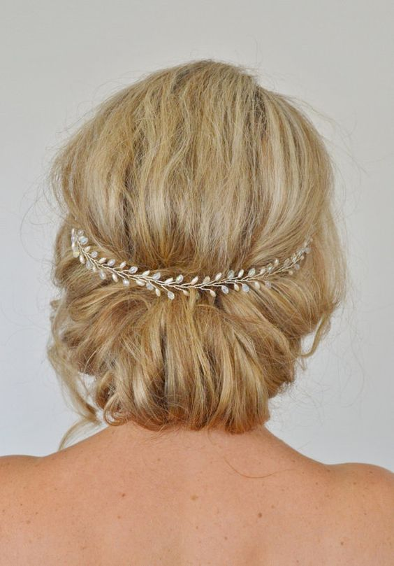 Pelo novia vid boda cabello vid, vid perlas pelo de cristal, pedazo de helecho hoja principal, accesorios cabello novia, diadema nupcial, diadema de novia