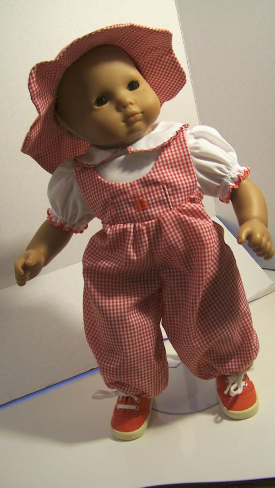 Gingham Romper Blouse Hat Bitty Baby Doll by fashioned4you