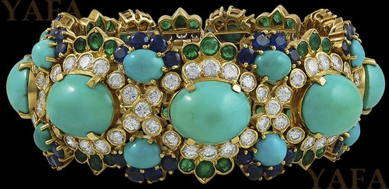 VAN CLEEF & ARPELS Diamond,Sapphire,Emerald and Turquoise Bracelet
