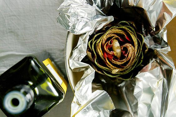 roasted artichokes with garlic and olive oil (skip lemon)