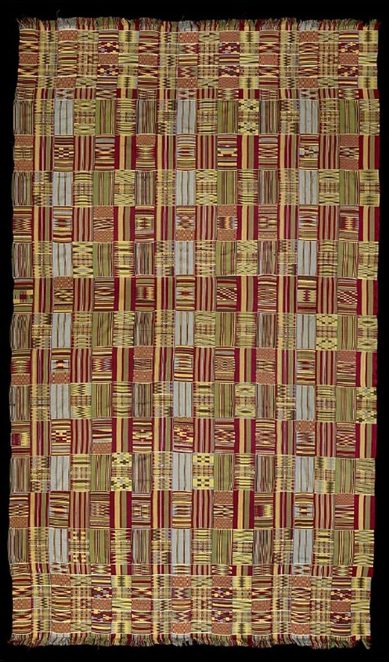 Africa | Woman's Kente wrapper from the Ashanti people of Bonwire, Ghana | 20th century