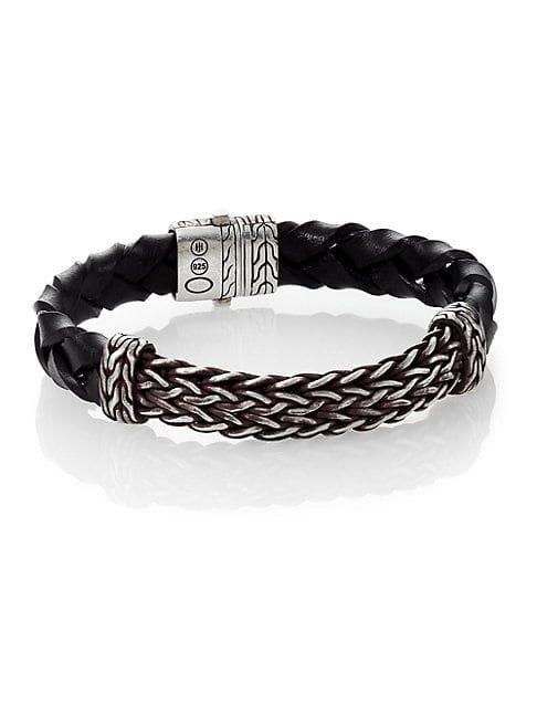 John Hardy Classic Chain Leather Silver Bracelet In Black Modesens Leather Silver Bracelet Leather Chain Leather Silver