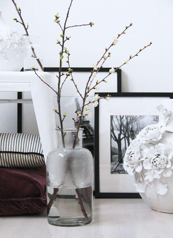 Takken in vaas zwart wit black white flowers: