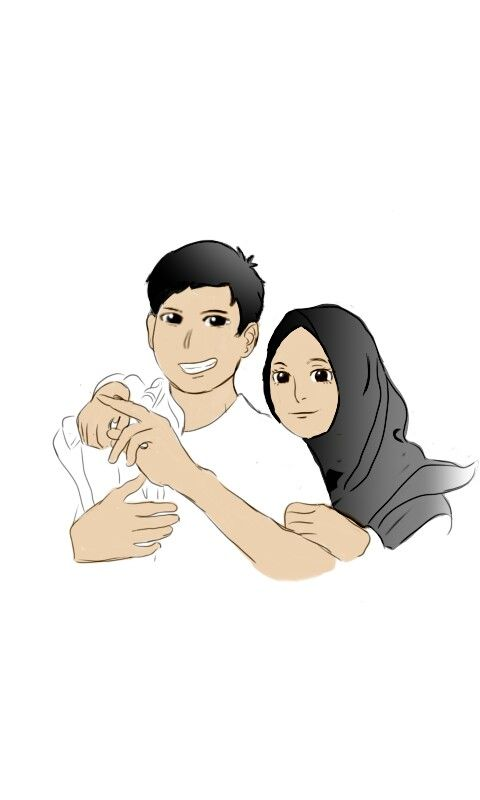 Couple Ilustrasi Karakter Kartun Kartun Hijab