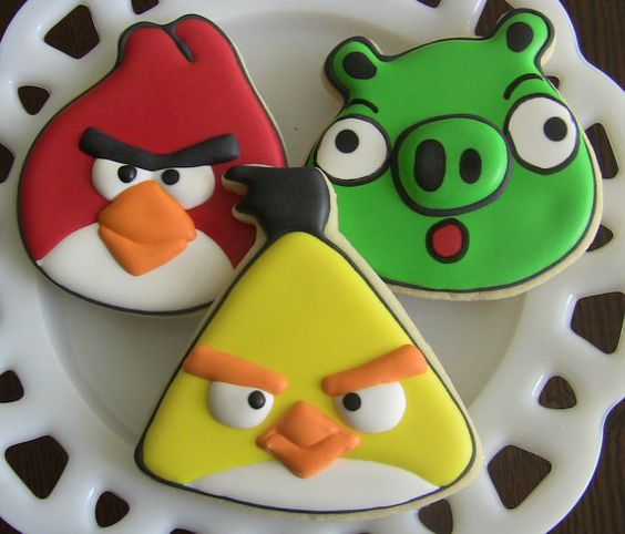 One Dozen Angry Birds Decorated Sugar Cookies by DolceDesserts, $36.00: