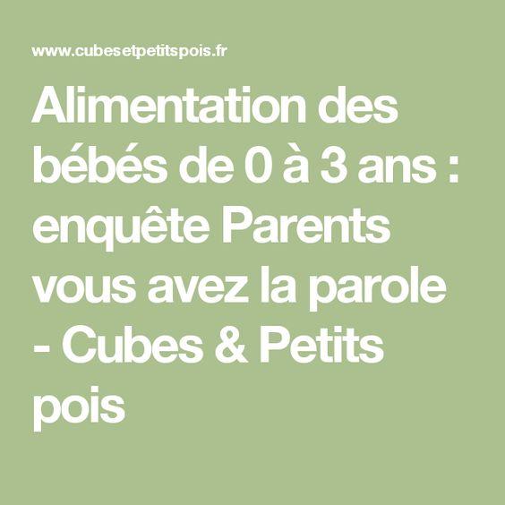 Alimentation des bébés de 0 à 3 ans : enquête Parents vous avez la parole - Cubes & Petits pois