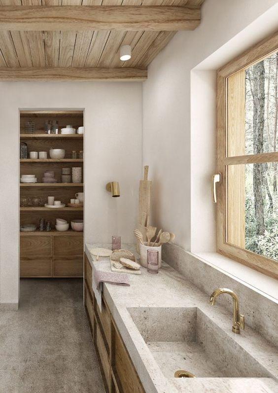 キッチン 床 モルタル イメージ おしゃれ 土間