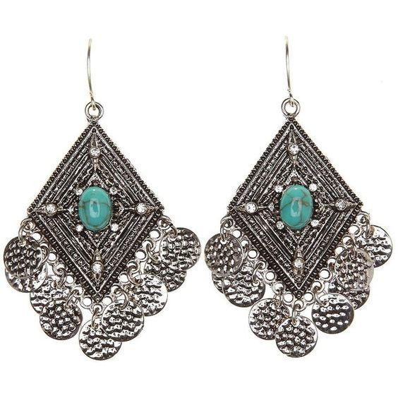 Charlotte Russe Turquoise Boho Turquoise Dangling Earrings by... ($6) ❤ liked on Polyvore: