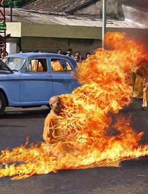 Buddhist Monk Self-immolating.