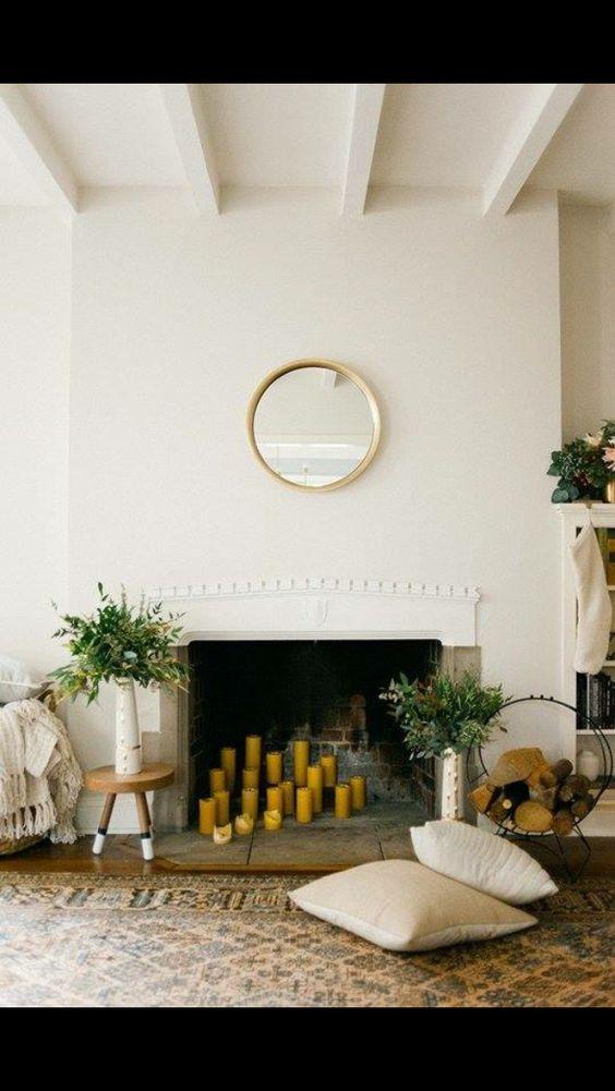Gorgeous fireplace candle arrangement