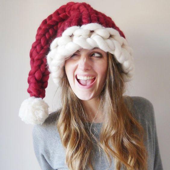 Chunky bonnet de père Noël - bonnet de Noël tricoté - rouge épaisse tricotée main et blanc bonnet de Noël:
