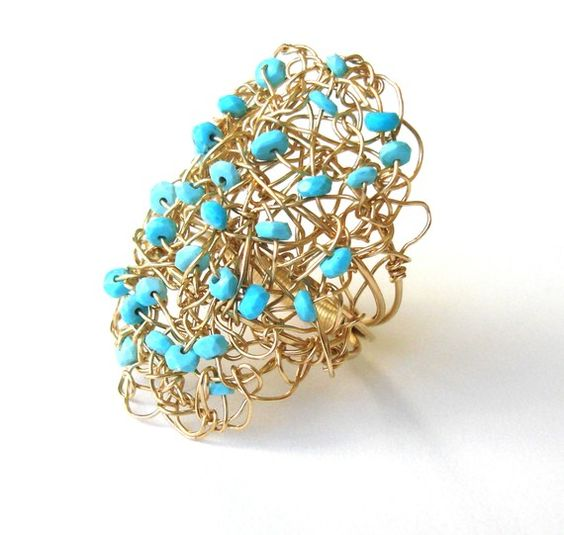 Wire wrapped ring in 14k gold fill and Sleeping by stonepoetry, $156.00
