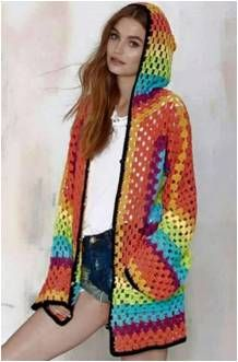 This is a free crochet pattern for Hexagonal Hooded Cardigan, this is made of 2 hexagonal grannies joined together to form the body and sleeves.: