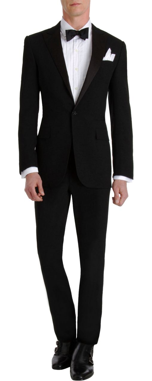 Classic men's tux. Well fitted and tailored. Simply elegant. Ralph Lauren Black Label Silk Lapel Tuxedo: