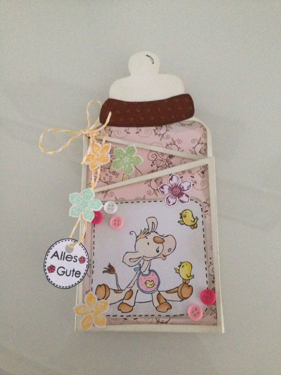Baby bottle card - babyflaschen Karte DIY