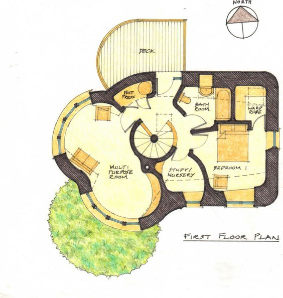 Cob building plans first floor plan back to sketch plans for Cob home designs